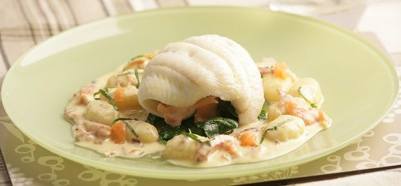 Rolled Lemon Sole Stuffed with Smoked Salmon and Spinach on bed of Bacon Gnocchi