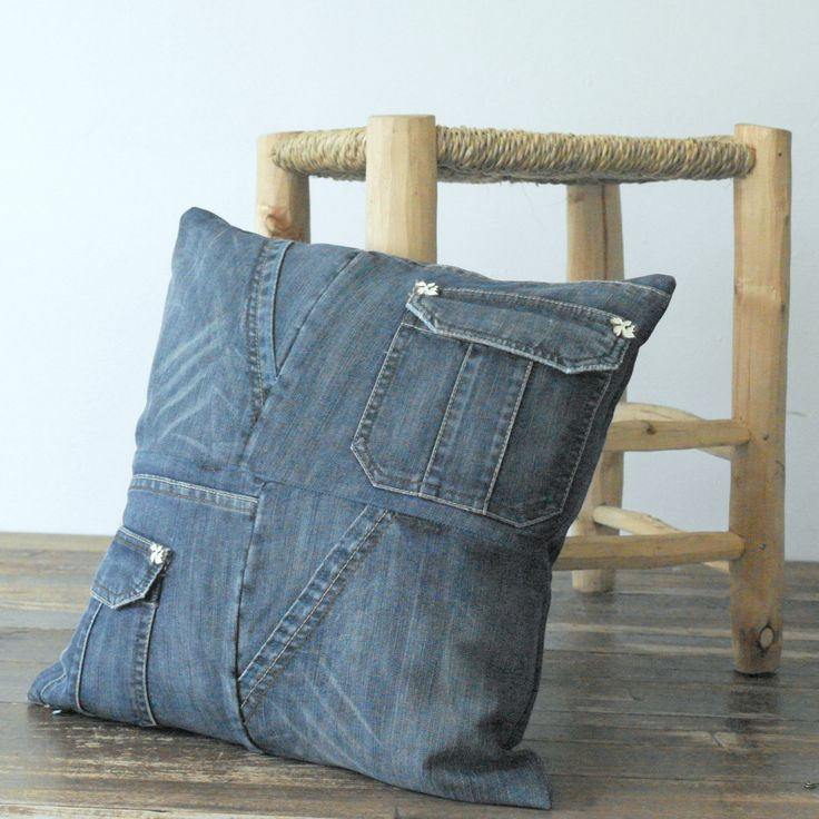 Dark Blue Recycled Pathwork Jeans Pillow Cover Cushion