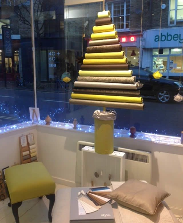 Ta da! ingenious festive window from our Islington showroom featuring a festive fabric Xmas tree! Visit us this Saturday for Small Bizz Day– free refreshments! http://www.pretavivre.com/news/festive-windows
