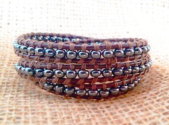 Men Leather Wrap Bracelet - Brown Leather Bracelet - Wrap Bracelet For Men