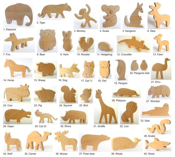 ANY 2 animals Organic wooden toy wooden animals by mielasiela