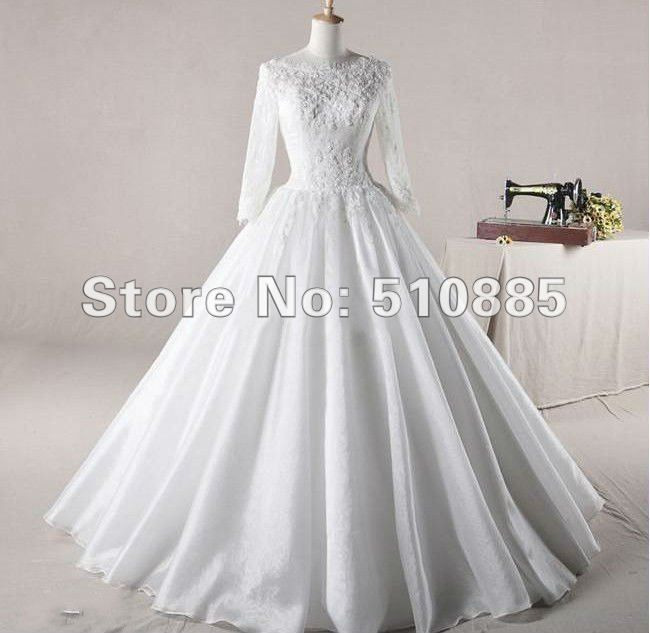 free shipping wholesale exquisite long sleeve high neck muslim lace wedding dress crystal arabic bridal dress BB124-in Wedding Dresses from Apparel & Accessories on Aliexpress.com $178.00