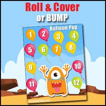 Roll and Cover or BUMP - A Number Sense Game (with Balloons and Monsters)