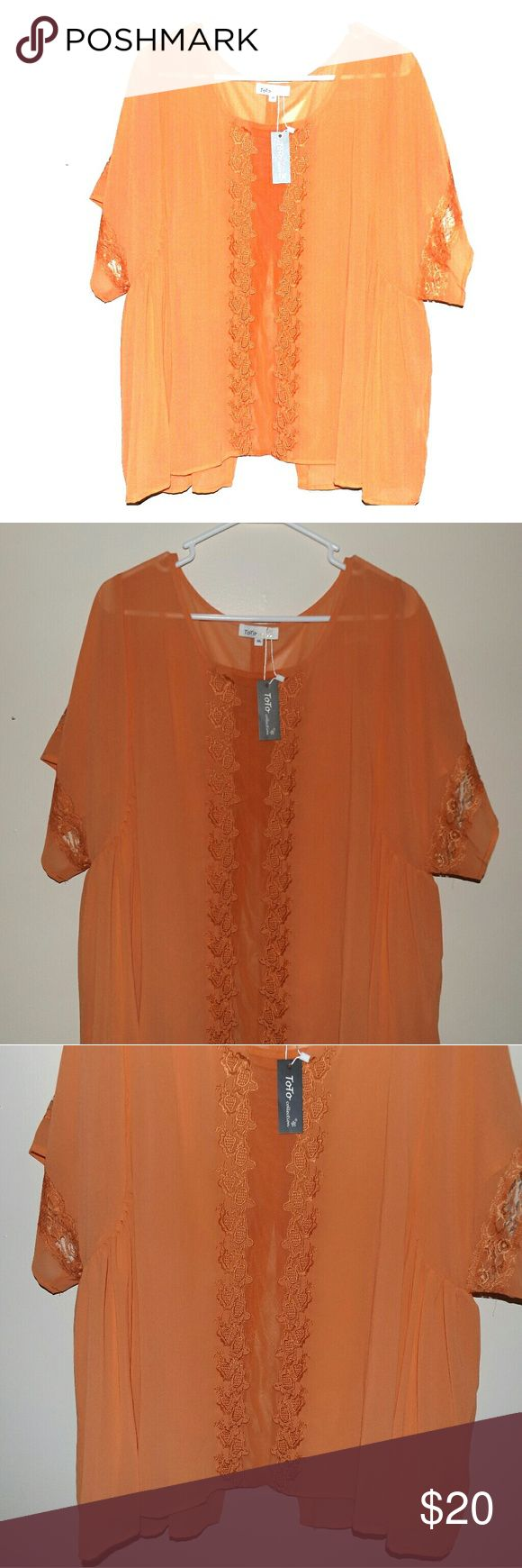 Woman 3X Orange Boho Hippie Festival Blouse New with tags toto collection Tops Blouses