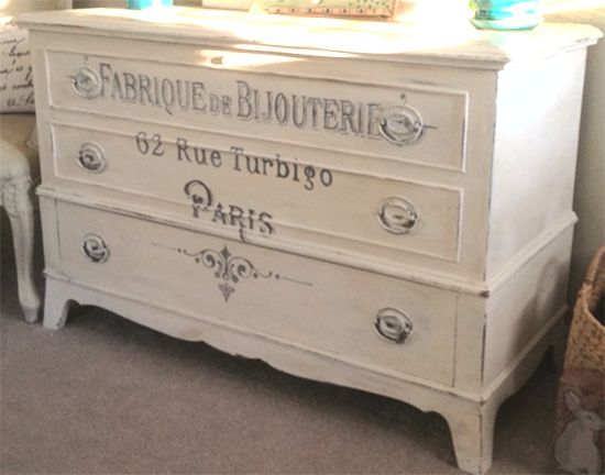Painted stenciled dresser. This French Dresser Makeover is from one of my reader's, Regina! She used The Graphic Fairy's Iron On French Typography Image – Bijouterie on this beautiful dresser!