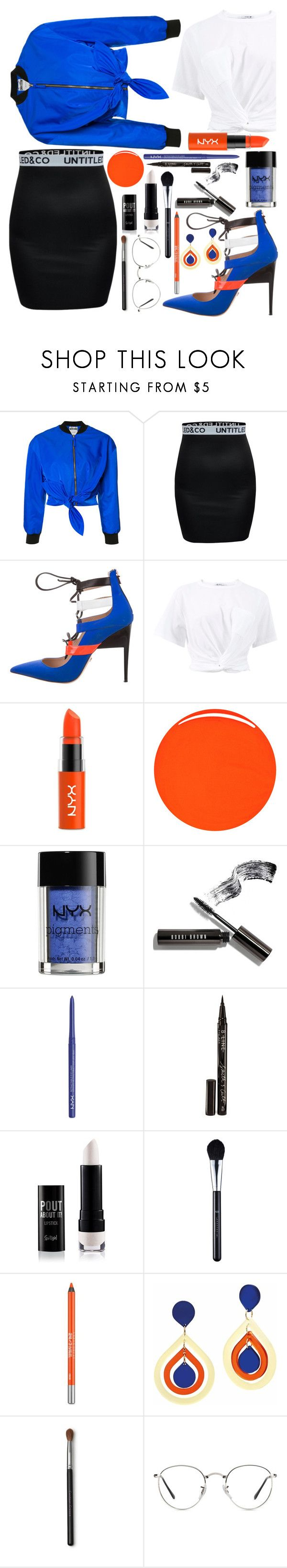 """""""Blue and orange"""" by callyfordham ❤ liked on Polyvore featuring Moschino, Ruthie Davis, T By Alexander Wang, NYX, RGB Cosmetics, Bobbi Brown Cosmetics, Smith & Cult, Urban Decay, Toolally and Ray-Ban"""