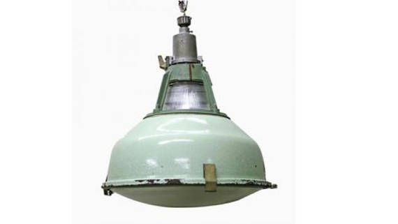 Vintage green enamel industrial pendant lights with glass