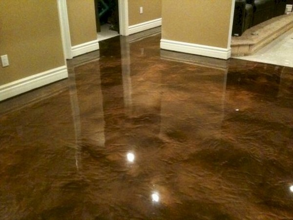 Polished concrete as a possible kitchen floor or the for Stained polished concrete floor
