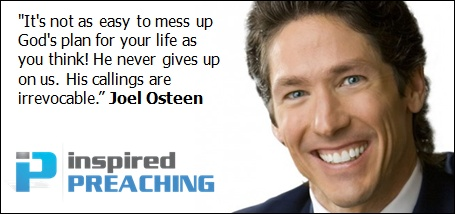 No matter what mistakes you've made, know that God's purpose for you is irrevocable. Let Pastor Joel Osteen reignite the dead and unrealized dreams in your life through this powerful clip. http://inspiredpreaching.com/gods-irrevocable-plan-for-your-life-joel-osteen/