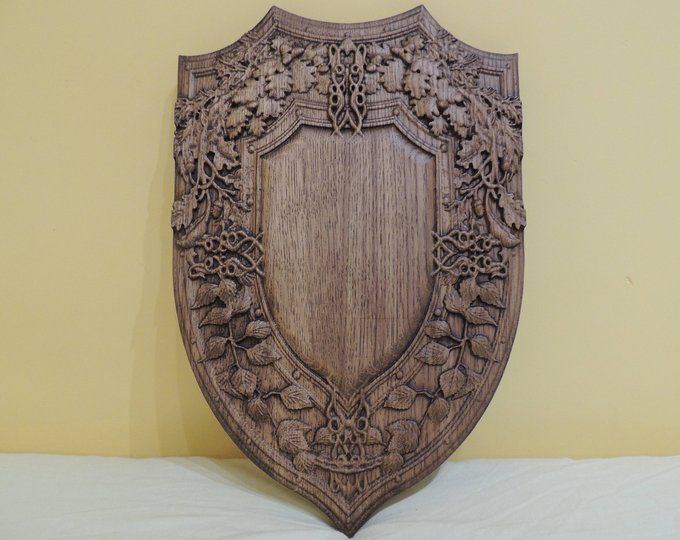**PLAQUES /& SHIELDS** Carved Wooden Craft Shape Shield Twelve.