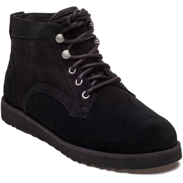 UGG® Bethany Tie Chukka Black Suede Bootie ($160) ❤ liked on Polyvore featuring shoes, boots, ankle booties, ankle boots, black suede, suede lace up booties, black suede bootie, short black boots, black ankle booties and lace up ankle boots