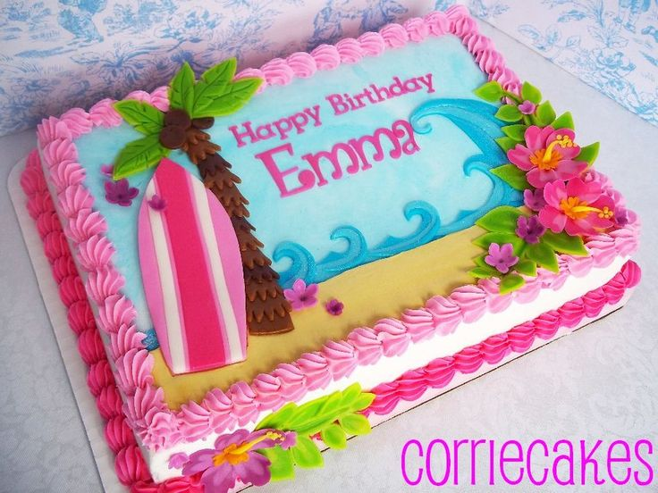 Hawaiian/surfboard - by Corrie @ CakesDecor.com - cake decorating website