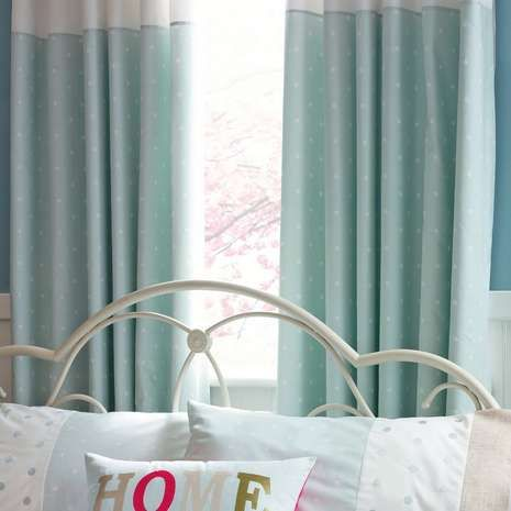 Duck Egg Country Spot Thermal Pencil Pleat Curtains