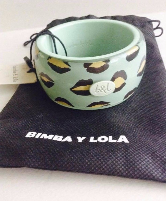 SALE Bimba and Lola NWT and Dust Bag, Green Bangle Bracelet, Lips, Spain #BimbaandLola #Bangle