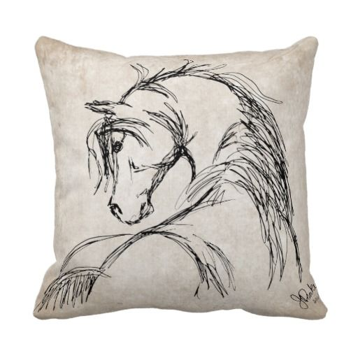 Decorative Pillows Horses : CUTE artsy equestrian themed horse lover throw pillow for the living room couch or bedroom. This ...