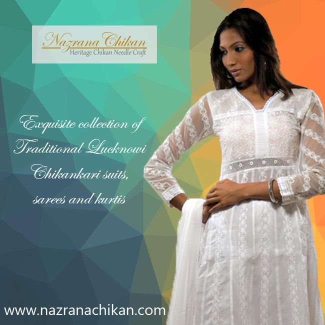 Traditional #LucknowiChikankari #Suits #Nazrana  #Lucknow #ChikankariSuits