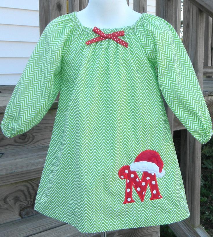 Green & White Chevron Christmas Santa Hat Initial Applique Peasant Style Dress. $38.00, via Etsy.