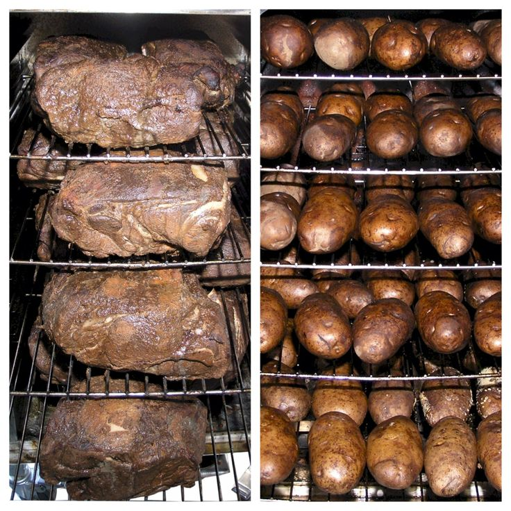 SmokinTex Commercial smokers hold a ton of smoked pork butt or potatoes.