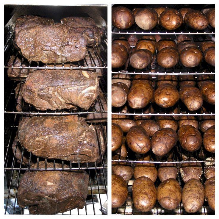 SmokinTex Commercial smokers hold a ton of smoked pork butt or potatoes.