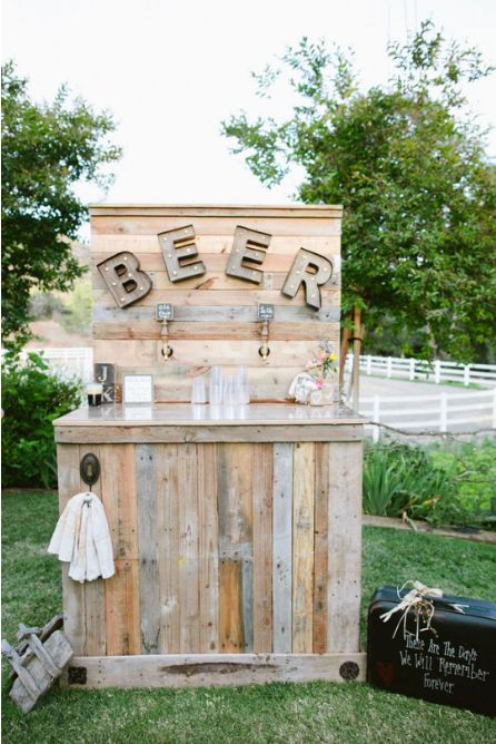 This beer station is perfect for a rustic outdoor wedding!