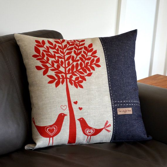 Birds & Tree - Large screen printed cushion Cover with Organic Cotton/Hemp Denim