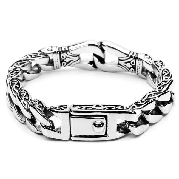 Silver Tone Mens 316L Stainless Steel Bracelet Vintage Jewelry at Banggood