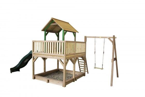 Holzspielhaus Tafil Mit Veranda Leiter Rutsche Sandkasten 1x Schaukel 277x540x291cm Aus Holz Spielhaus Sandkasten Sandkasten Garten