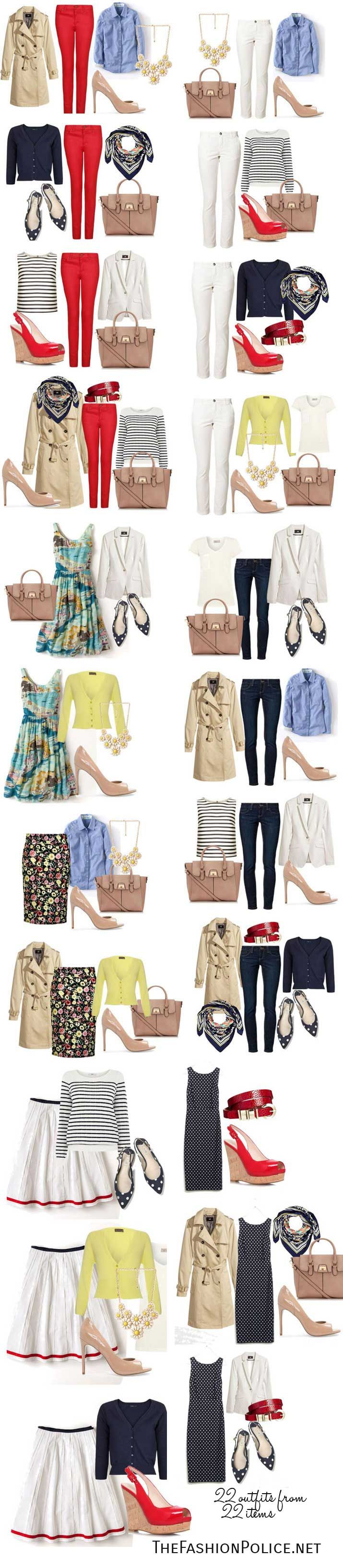 Spring Capsule Wardrobe 2014: It all works for me except that yellow sweater - I hate yellow. Green, teal or turquoise would be the replacement.