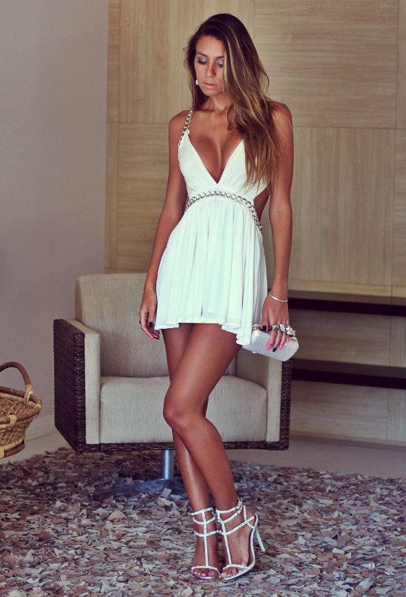 I love the plunging v neck in this dress bday