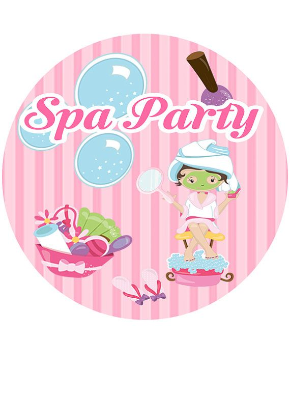 Spa party edible cake topper spa party cupcake toppers spa