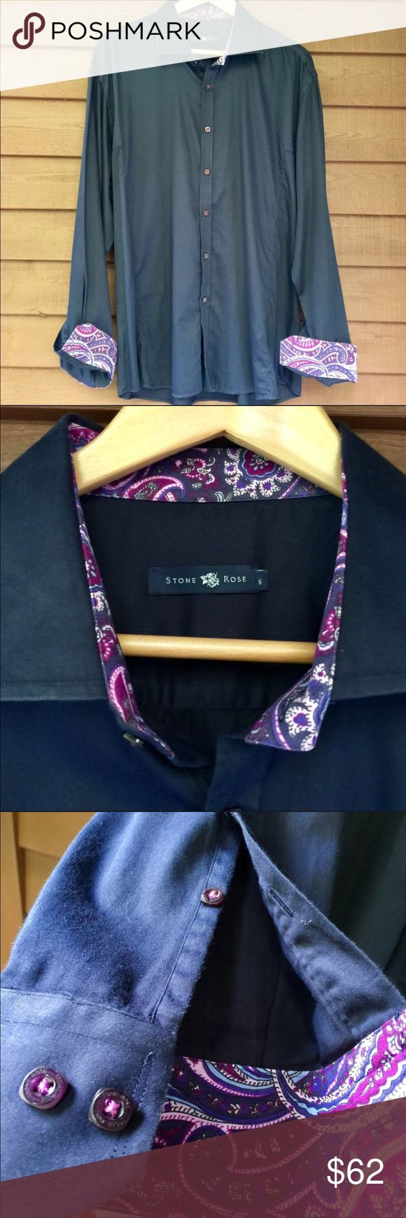 Stone Rose Paisley Cuff Sport Shirt Gently used. This is a good looking shirt! I love all the details and gentlemen you will too. From the paisley collar and cuffs to the purple threads in the buttons. Also the embroidered rose on one cuff only! Now how cool is that? Size 6. See size chart in photos for measurements. Stone Rose Shirts Casual Button Down Shirts