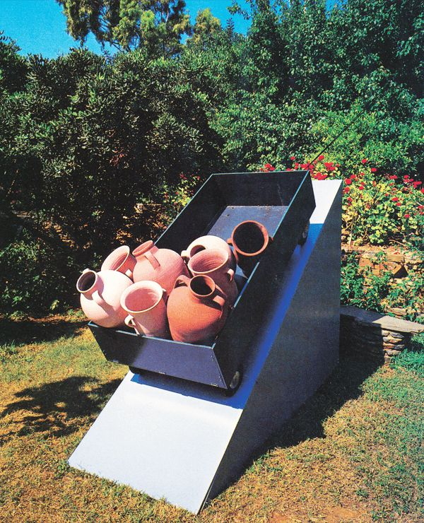 """PATRICK RAYNAUD, """"Vendeurs d'aphores (ou L'epee de Damocles)"""", 1986, New installation"""