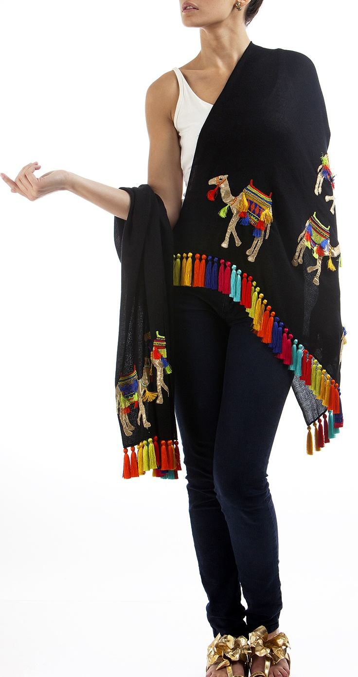 Decorated camel shawl with multi-colour tassles by Janavi