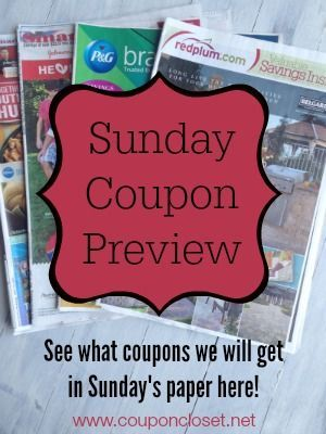 Sunday Coupon Preview: see what coupons we will get in the Sunday paper each week.