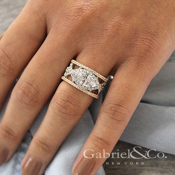 Gabriel & Co.-Voted #1 Most Preferred Fine Jewelry and Bridal Brand. 18k White/Rose Gold Marquise Halo Engagement Ring