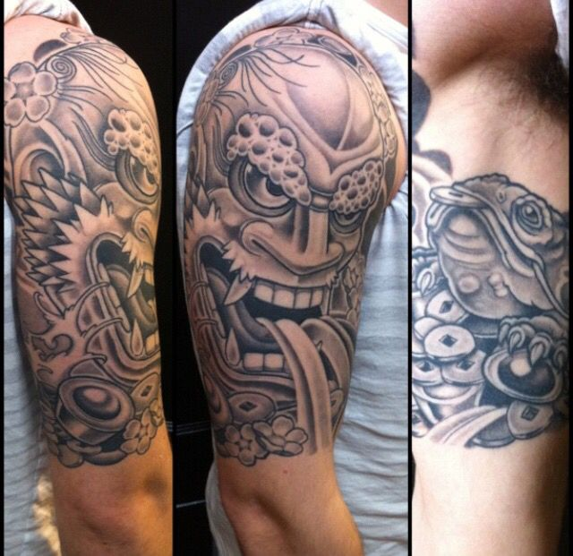 Hannya mask half sleeve tattoo. Japanese Edmonton tattoo artist.