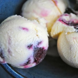 ... for goat cheese!!! Goat Cheese Ice Cream with Roasted Red Cherries