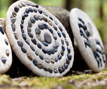 This project starts with a trip outdoors to collect a basket of small, beautiful stones for an all-natural mosaic. Make sure the pebbles are clean and dry before you press them into the dough. When you have your pebbles, mix up the salt dough. Our recipe makes enough for three 6-inch-round plaques. You will need: 3 cups flour 1 cup salt 1 1/4 cups water (plus up to an additional 1/4 cup, as needed) ...