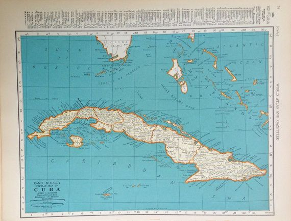 1935 Cuba Map  Vintage Map  World Map by drivingmissshirley
