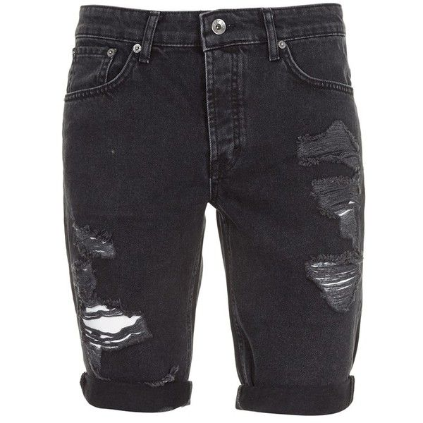 Topman Skinny Fit Destroyed Black Denim Shorts ($35) ❤ liked on Polyvore featuring men's fashion, men's clothing, men's shorts, shorts, bottoms, clothing - shorts, pants, mens ripped jean shorts, mens ripped denim shorts and mens distressed shorts