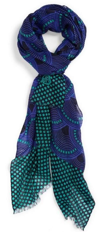 blue and green autumn scarf