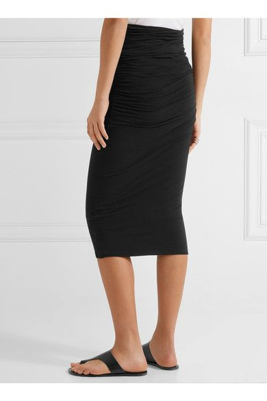 James Perse - Ruched Stretch-cotton Jersey Midi Skirt - Black - 2