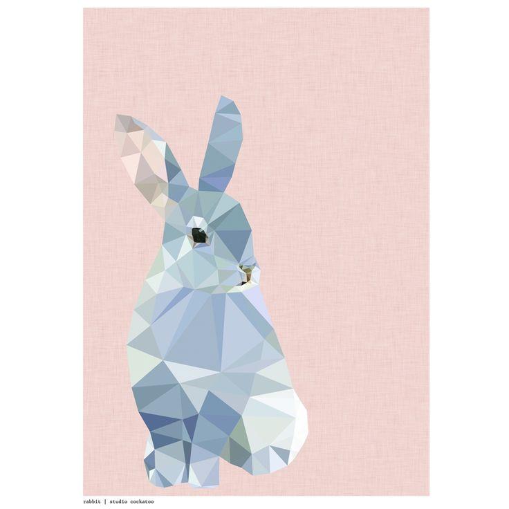 Geometric rabbit art print   hardtofind.