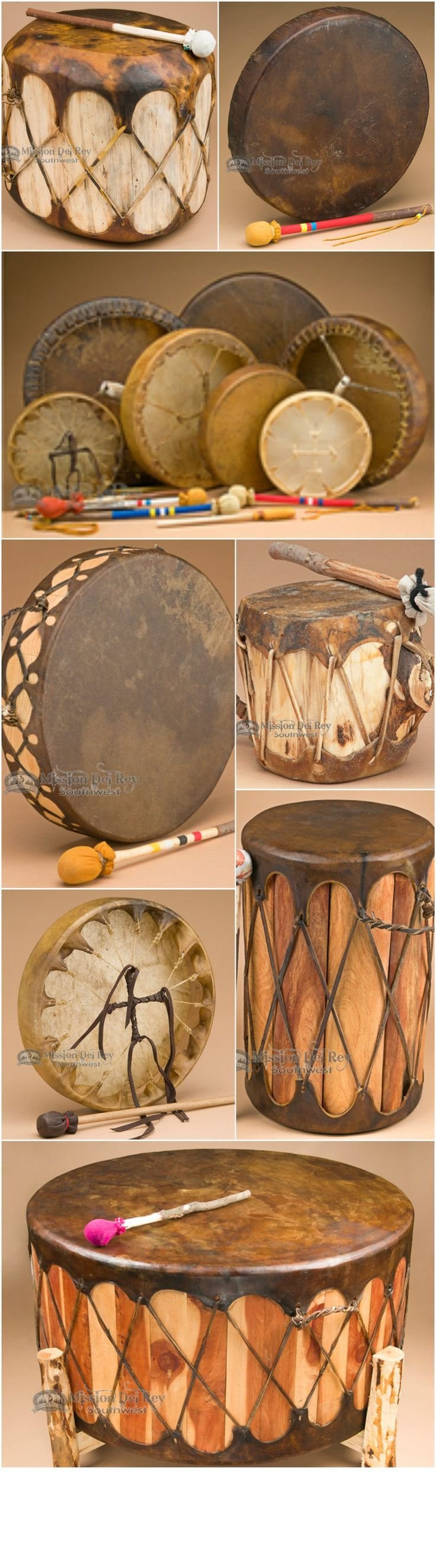 See our gallery of Native American drums for sale, to find the best in Native rawhide drums. Created by hand, our drums are made with a variety of hides including goat, deer, elk, buffalo, moose and horse. Customers often use our Pow wow drums and Native American hand drums in drumming circles, pow wows, Native ceremonies, and home decor. Check out our wide variety of drum styles from the Apache, Tarahumara, Shoshone, Navajo, Cherokee, Pueblo and Sioux, for great choices in Native drums.