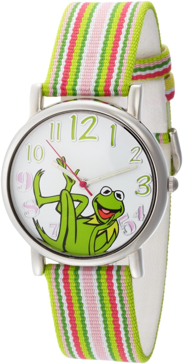 Muppets women 39 s kermit the frog dial multi colored stripe grosgrain strap watch groovy finds for Rainbow color stripe watch
