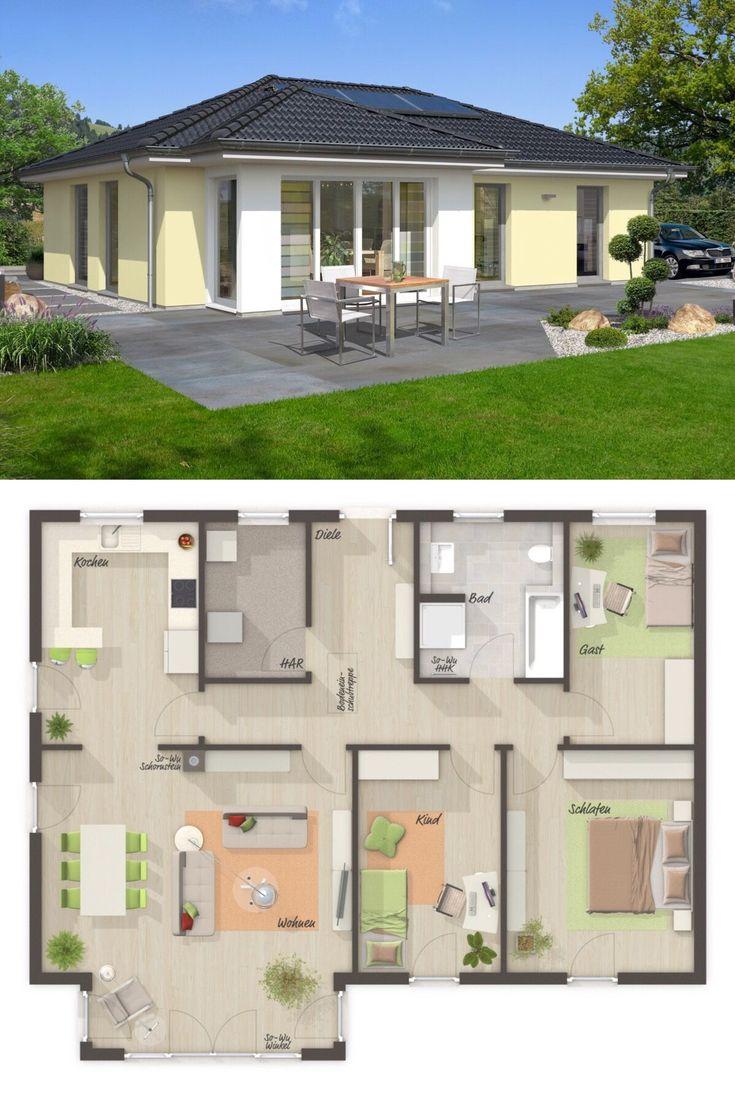 bungalow haus mit walmdach architektur wintergarten erker 4 zimmer grundriss rechteckig 108