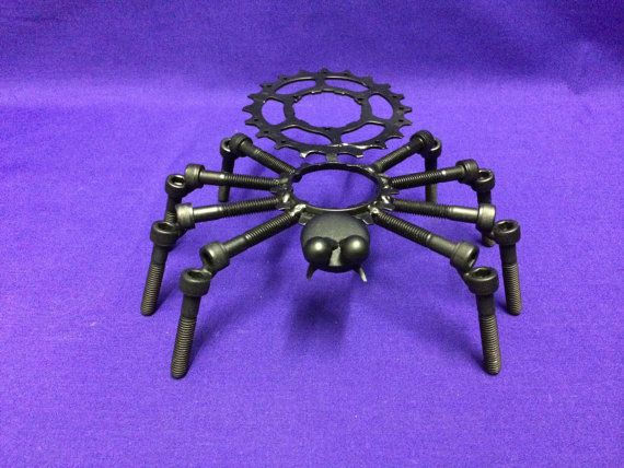Recycled metal spider sculpture art by KLMetalArt on Etsy