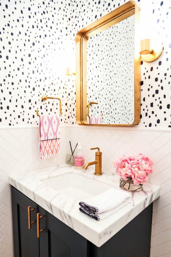M s de 25 ideas incre bles sobre ba os en blanco y negro for Espejo dorado bano