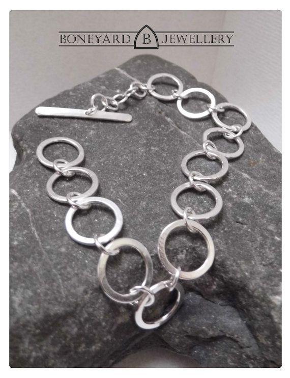 Sterling Silver Hammered ring Bracelet by BoneyardJewellery, £39.99