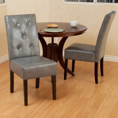 Noble House Tori Grey Bonded Leather Dining Chair (Set of 2), Gray